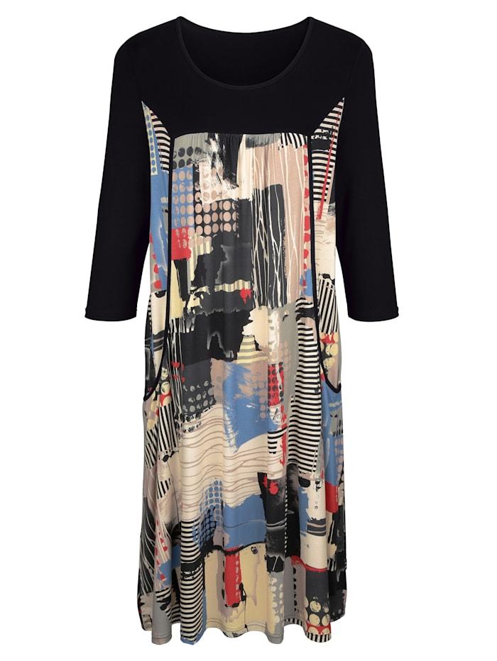 MIAMODA Kjole med patchmønster, Multicolor