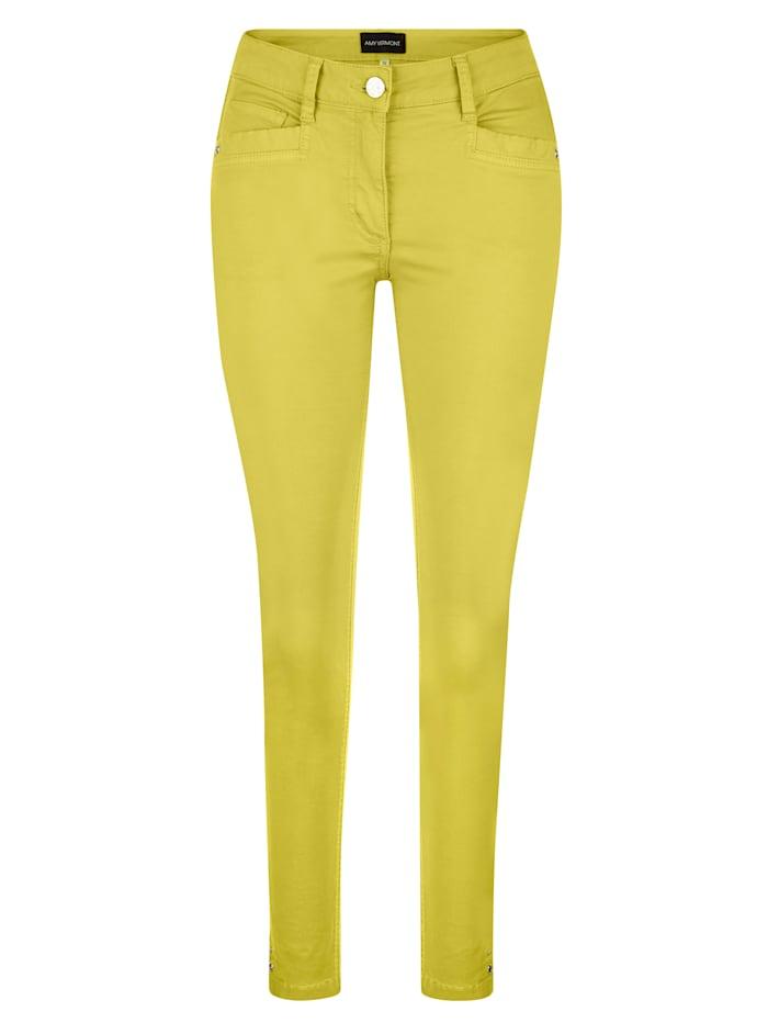 AMY VERMONT Jeans mit Nieten- und Ösendetails, Gelb