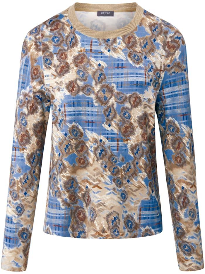 Basler Pullover mit Rundhalsausschnitt und Allover-Print, blue multicolour