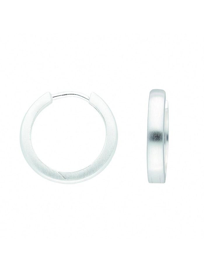 1001 Diamonds Damen Silberschmuck 925 Silber Ohrringe / Creolen Ø 17 mm, silber