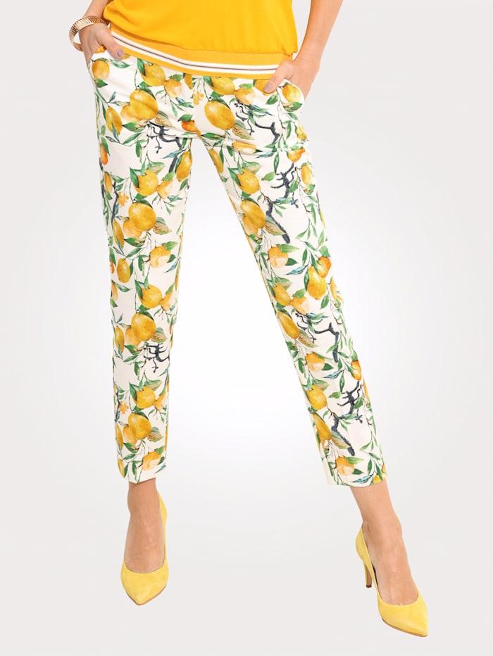 MONA Pantalon 7/8 à motif de citrons estival, Blanc/Jaune citron/Vert