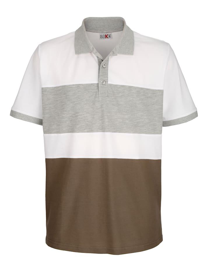 Roger Kent Poloshirt mit Kontrast im Vorderteil, Weiß/Taupe