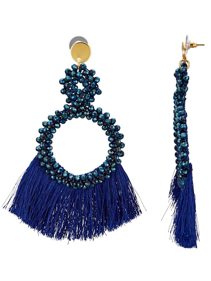 Ohrstecker mit Glassteinen, Blau