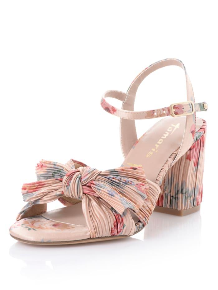 Tamaris Sandalette aus Textil, Beige/Multicolor