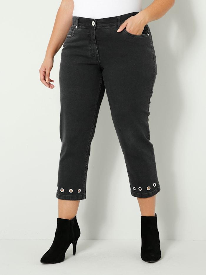 Sara Lindholm Jeans met oogjes aan de zoom, Black