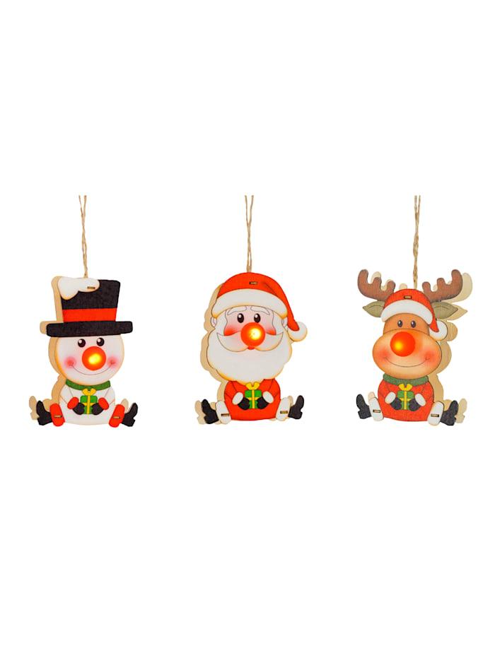 3tlg. Set Weihnachtshänger mit Beleuchtung, Multicolor