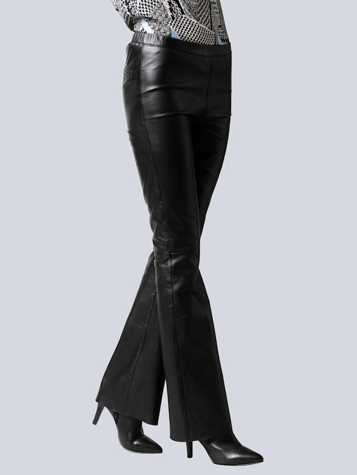Alba Moda Lederhose aus softem Lamm-Nappa, Schwarz