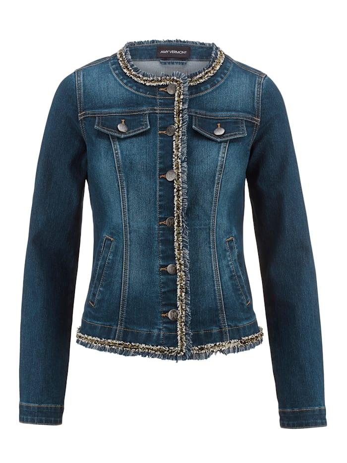 Jeansjakke med pyntebånd