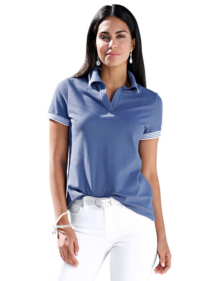 AMY VERMONT Poloshirt mit Strickbündchen, Blau