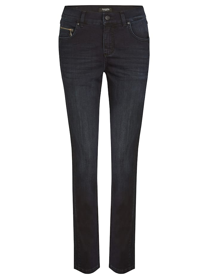 Angels Jeans 'Cici Zip' mit Zip-Details, night blue used buffi crinkle