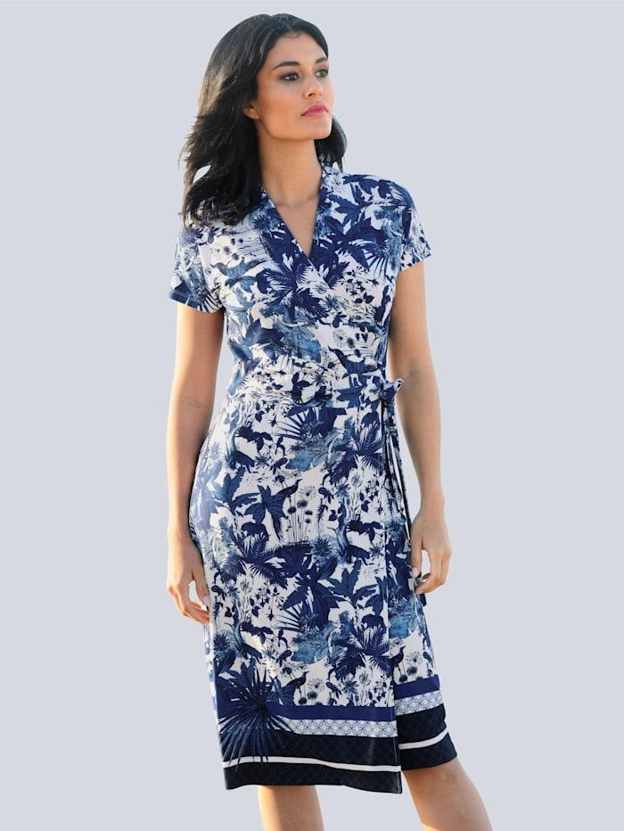 Alba Moda Žerzej šaty s exkluzivním Alba Moda potiskem, Modrá/Přírodní bílá