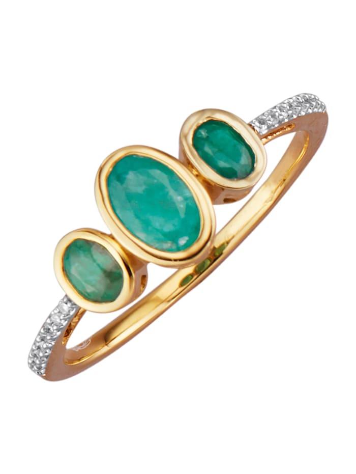 Diemer Farbstein Damenring mit Smaragden, Grün