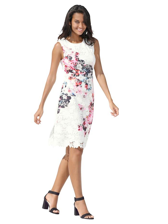APART Kleid mit floral bedrucktem Spitzenstoff, Off-white/Multicolor
