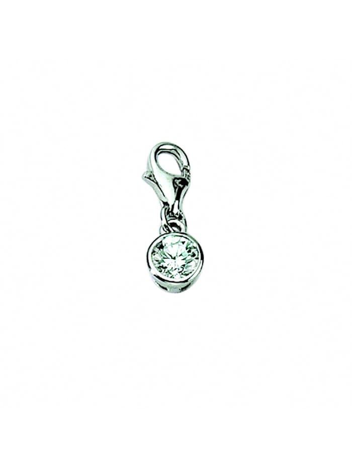 1001 Diamonds Damen Silberschmuck 925 Silber Charms Anhänger Zarge mit Zirkonia, silber