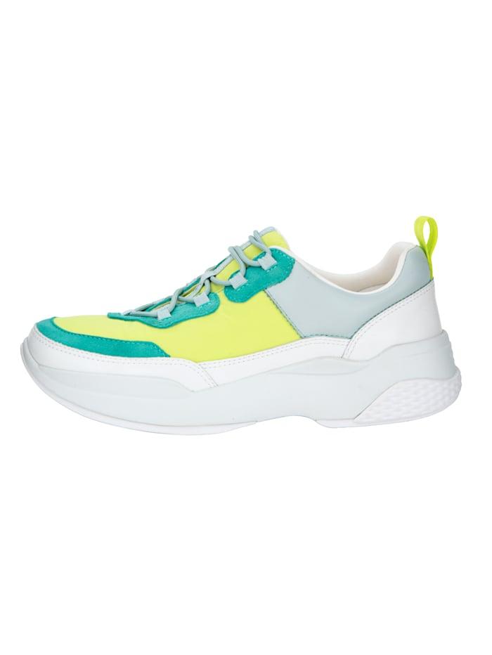 Vagabond Sneaker im Materialmix, Neongelb/Mintgrün