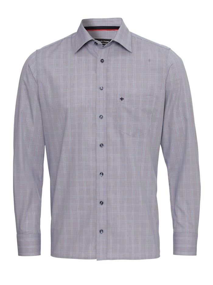 Jupiter Modernes Herrenhemd, karo dunkelblau