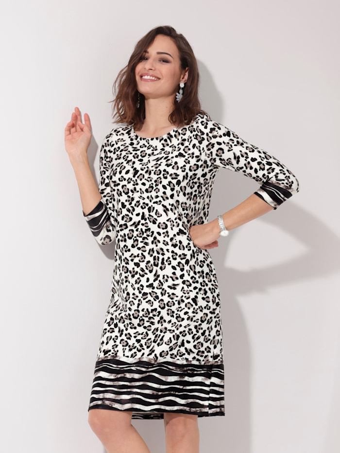 AMY VERMONT Jerseykleid im Animaldruck, Off-white/Schwarz
