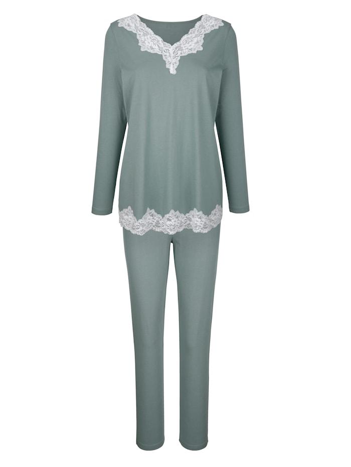 Simone Schlafanzug mit kontrastfarbener Spitze, Oliv/Ecru