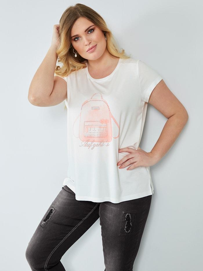 Sara Lindholm Shirt mit Motivdruck, Off-white/Rosé
