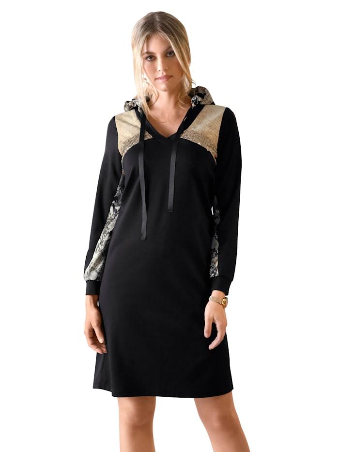 Jerseykleid mit Pailletten im Vorderteil