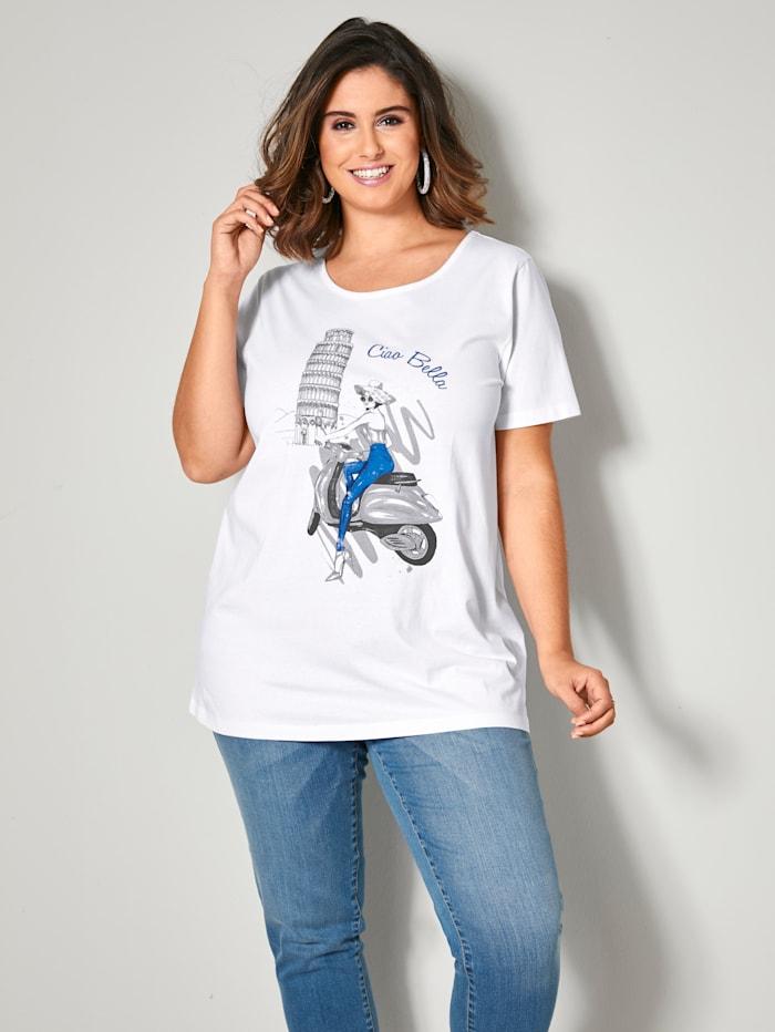 Sara Lindholm Shirt mit platziertem Druckmotiv, Weiß/Blau