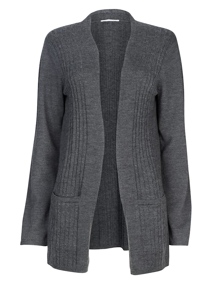 Merino wool cardigan with cable knit