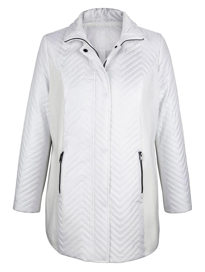 MIAMODA Prošívaná bunda se stojatým límcem, Bílá