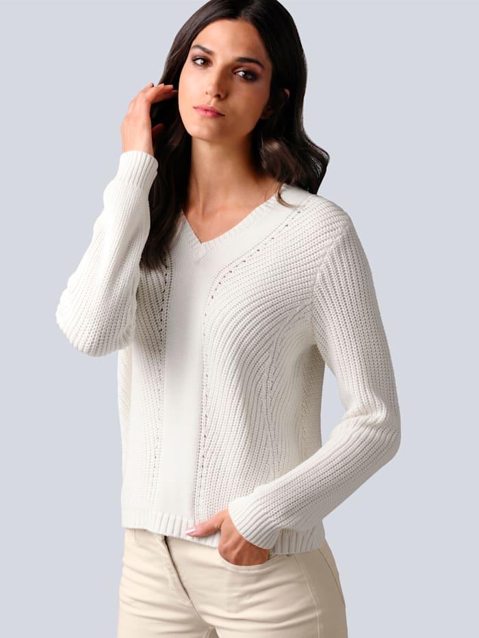 Alba Moda Pullover mit filigranem Strickmuster, Off-white