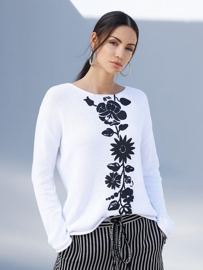 AMY VERMONT Pullover mit Blumendruck im Vorderteil, Weiß/Schwarz
