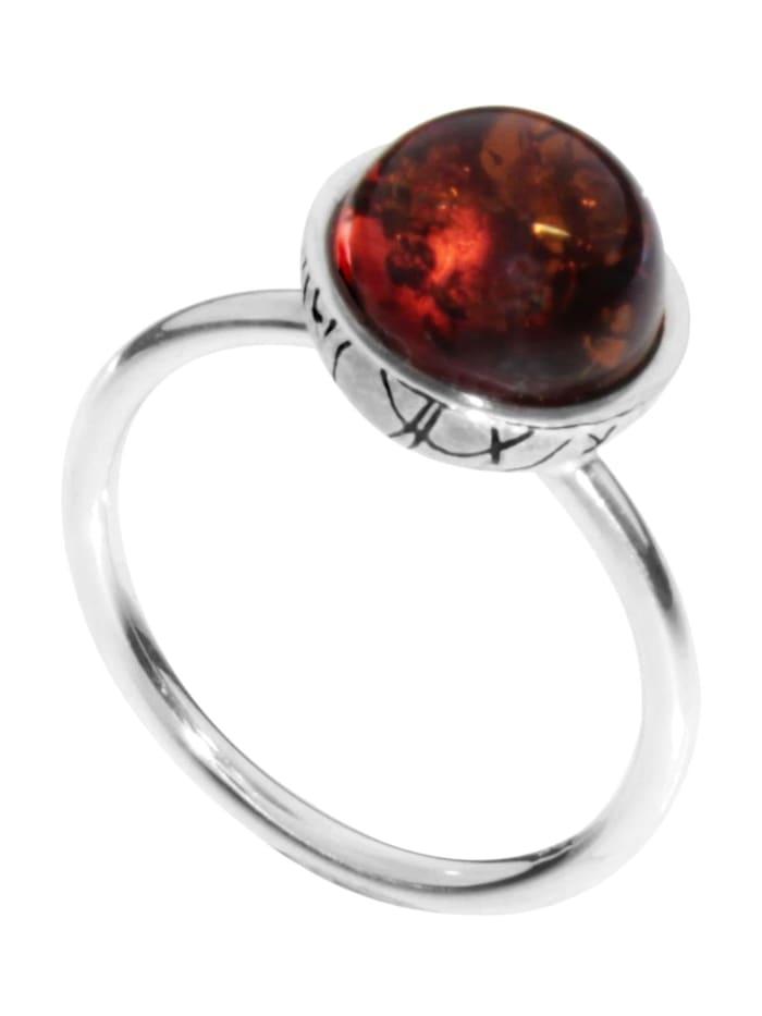 OSTSEE-SCHMUCK Ring - Kugel 10 mm-Sarah Vicenca - Silber 925/000 - Bernstein, silber
