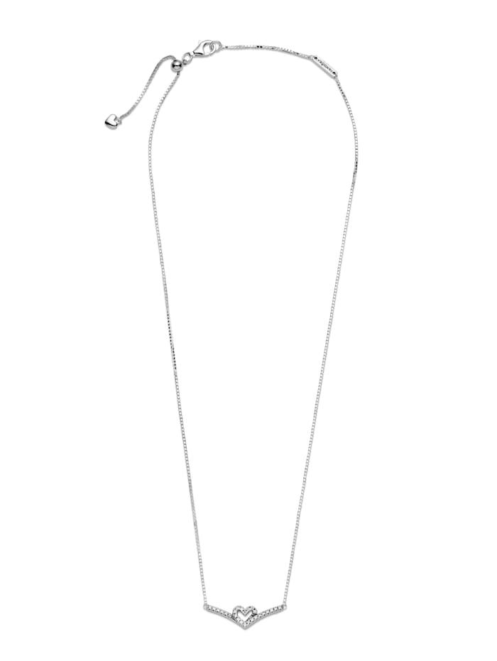 Pandora Collier, 925 -Wishbone Herz- 399273C01-45, Silberfarben