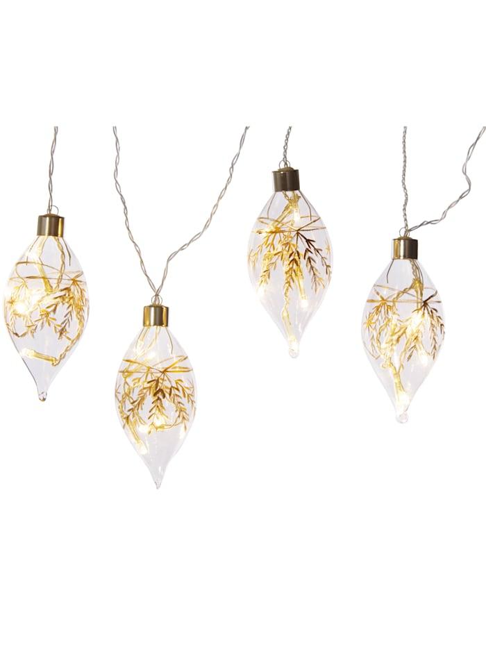 Näve Julgranspynt 4 LED-hängen, guldfärgad