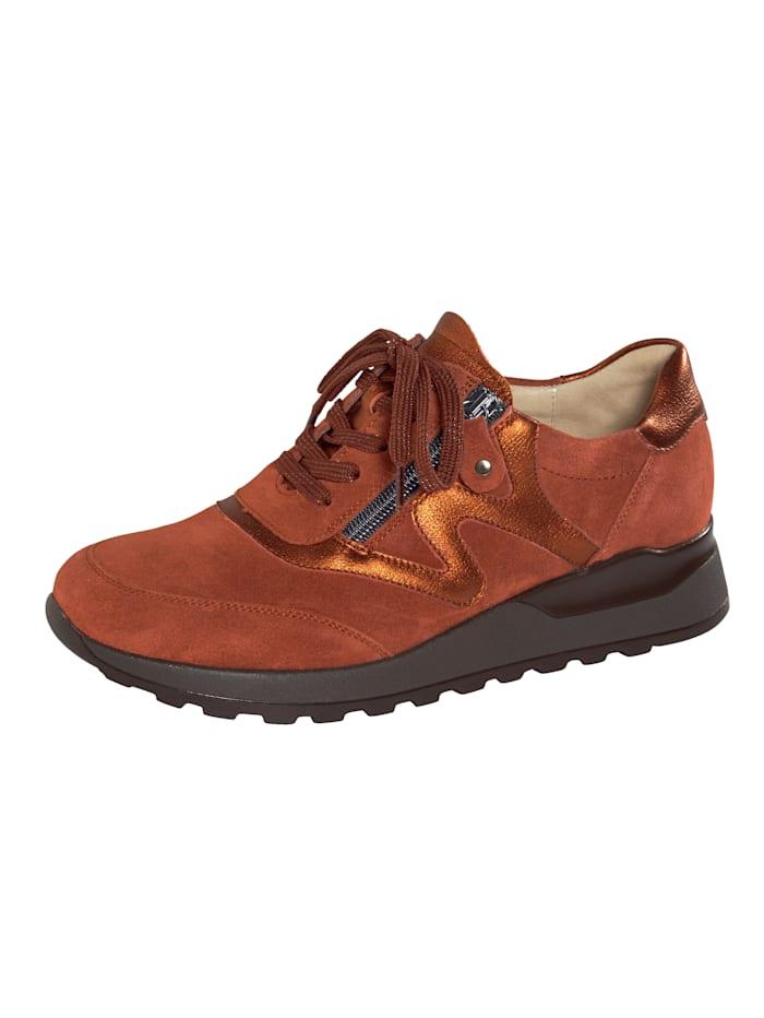 Waldläufer Sneakers avec glissière côté, Brique