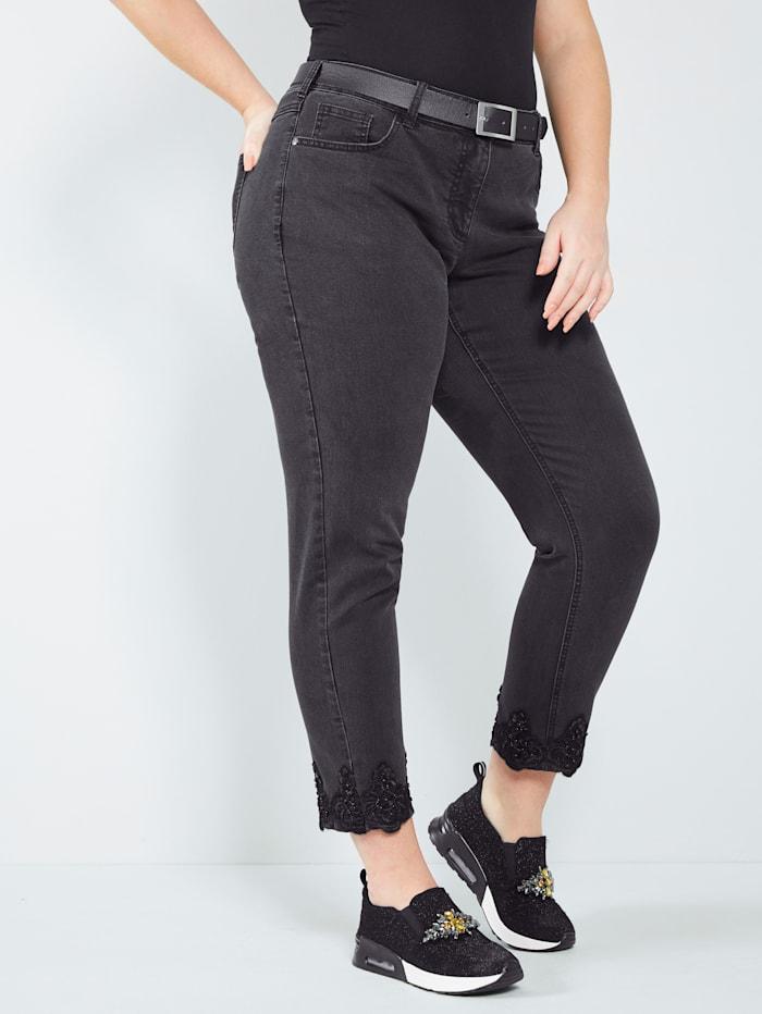 Sara Lindholm Jeans mit Perlen, Black stone