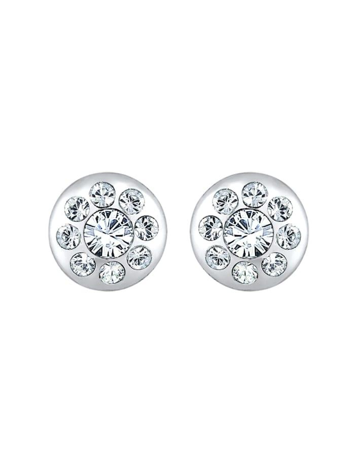 Ohrringe Kreis Elegant Kristalle Funkelnd Silber
