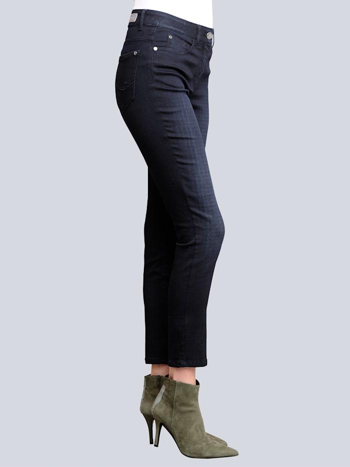 Alba Moda Jeans im dezenten Karodessin bedruckt, Marineblau/Schwarz