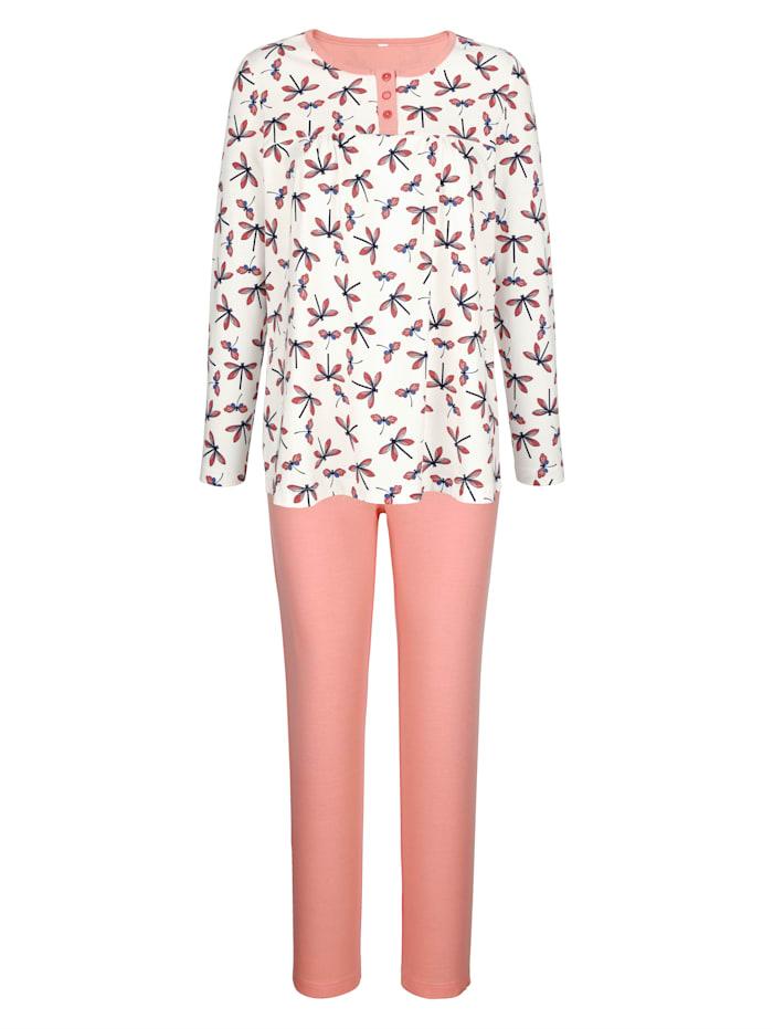 Blue Moon Pyjama met licht uitlopend shirt, Ecru/Apricot