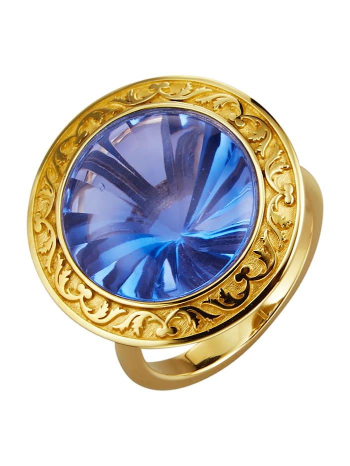 Diemer Farbstein Damenring mit blauem Fluorit, Blau