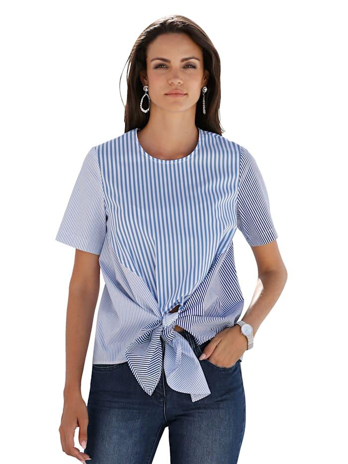 AMY VERMONT Bluse im gepatchtem Streifendessin, Blau/Weiß