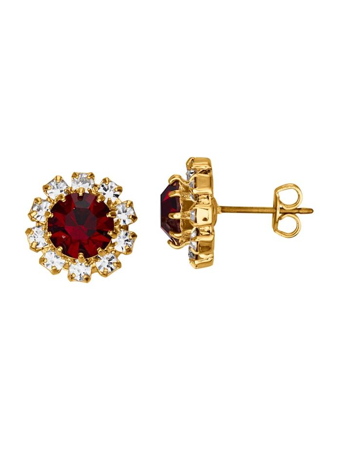 Golden Style Ohrstecker mit Kristallen, Rot