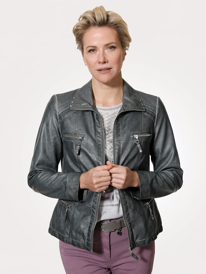 MONA Faux leather jacket in a distressed finish, Grey