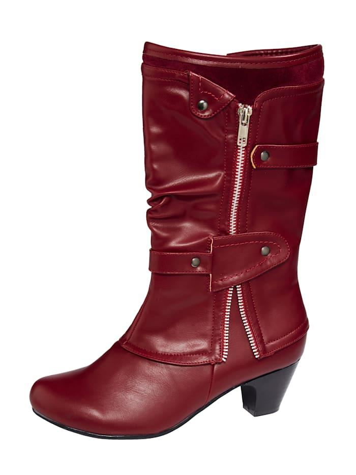 Liva Loop Stiefel mit Zierreißverschluss und dezenter Nietenapplikation, Rot