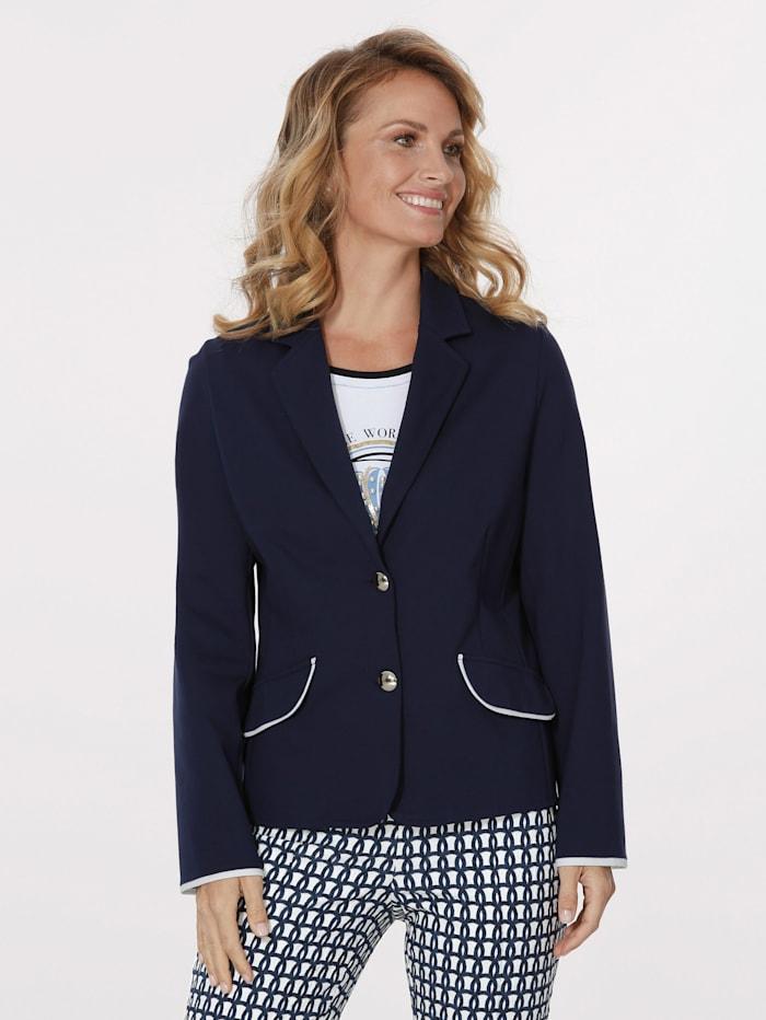 MONA Blazer en jersey à passepoils contrastants, Marine/Blanc