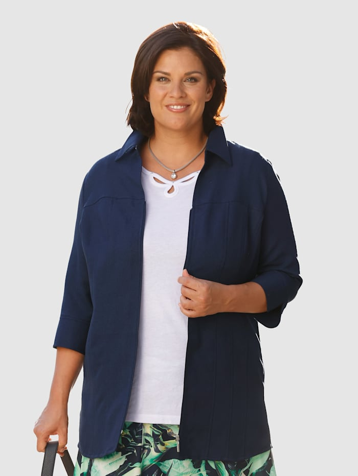 m. collection Blúzkový kabátik s otvoreným košeľovým golierom, Námornícka