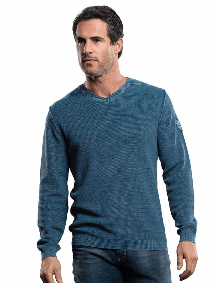 Engbers Baumwollpullover mit Rippstruktur, Himmelblau