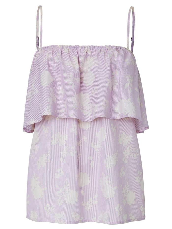 SIENNA Blusentop mit Volant am Ausschnitt, Lavendel
