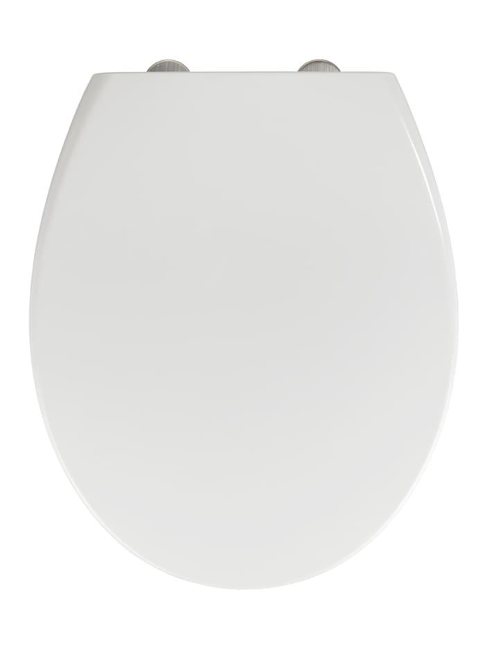 Wenko WC-Sitz Delos Family, aus antibakteriellem Duroplast, mit Absenkautomatik, Weiß, Befestigung: Silber matt
