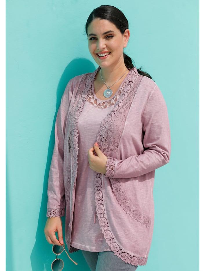 MIAMODA Shirtjacke mit femininen Spitzendetails, Rosé
