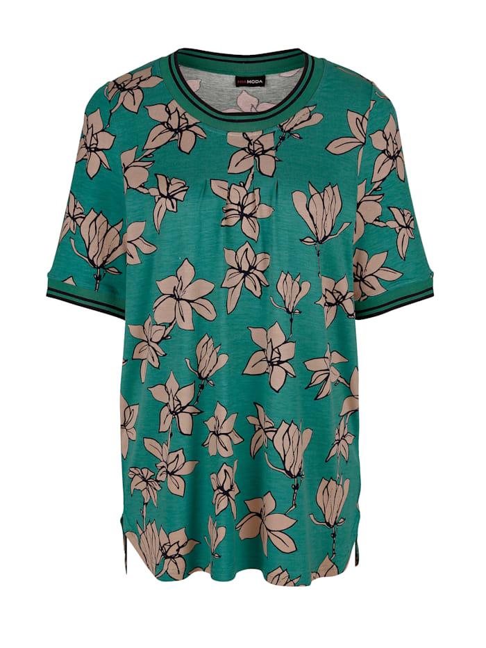 MIAMODA Tričko s květinovým potiskem, Zelená/Béžová