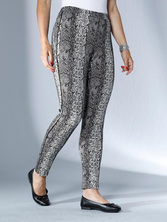 MIAMODA Broek met trendy slangenprint, Zwart/Wit